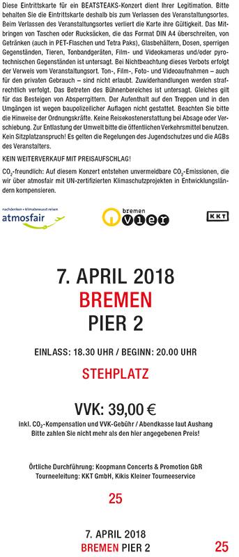 Beatsteaks 07.04.2018 Bremen Ticket inkl. VVK