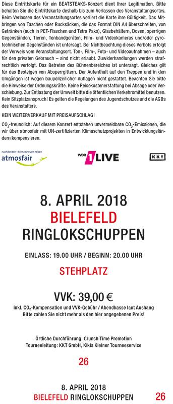 Beatsteaks 08.04.2018 Bielefeld Ticket inkl. VVK