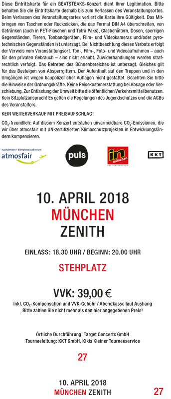Beatsteaks 10.04.2018 Munich Ticket incl. presale